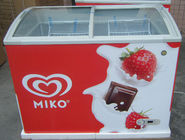 335L Commercial Ice Cream Chest With Top Open Sliding Curved Glass Door