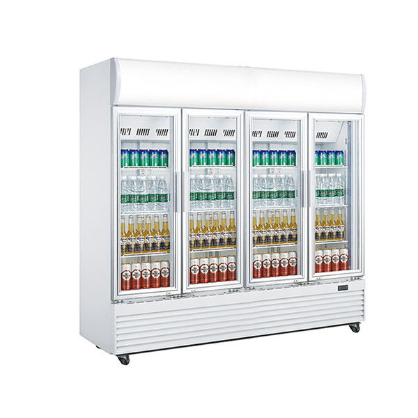 2010L Upright Display Chiller , Four Glass Door Chiller Display Fridge,No Frost Fan Cooling Commercial Display Cooler