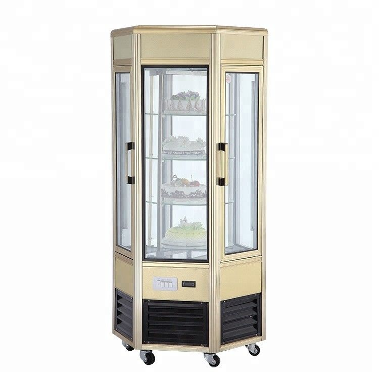 608L Fan Cooling Low Power Six - Sides Glass Refrigerated Cake Display Cabinets Cold Storage And Freezing