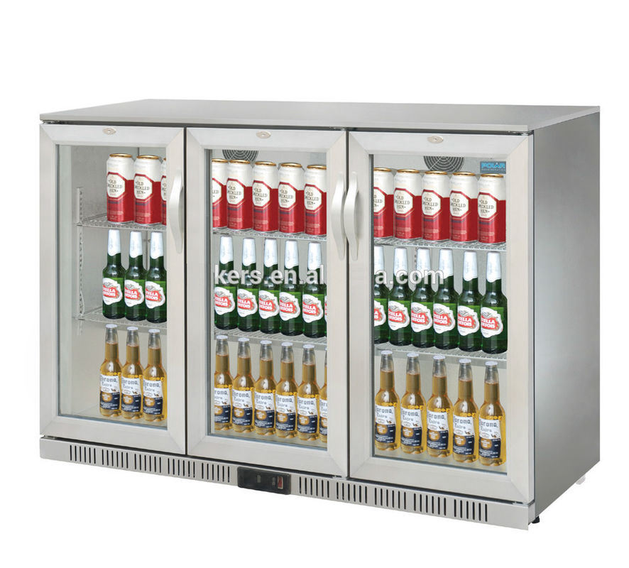 850mm Height 320L Three Stainless Steel Doors Back Bar Cooler Auto Defrost Type With Easy Cleaning Gasket